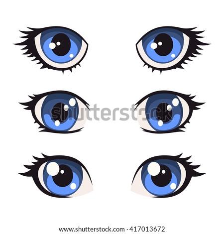 Blue Cartoon Anime Eyes Set Vector