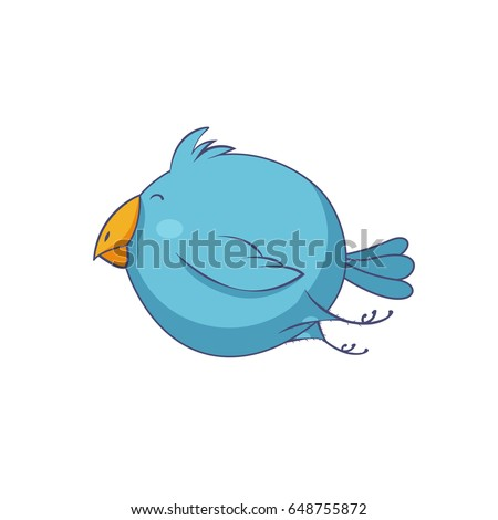 Blue cartoon bird character isolated on white background