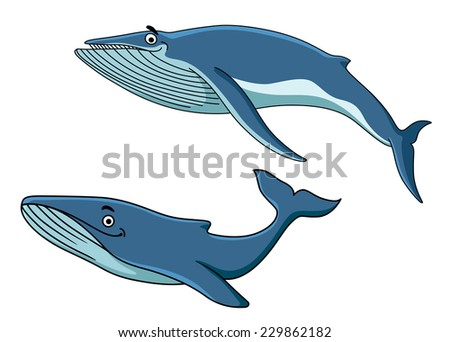 Blue cartoon whales swimming underwater with their tails, vector illustration on white - stock vector