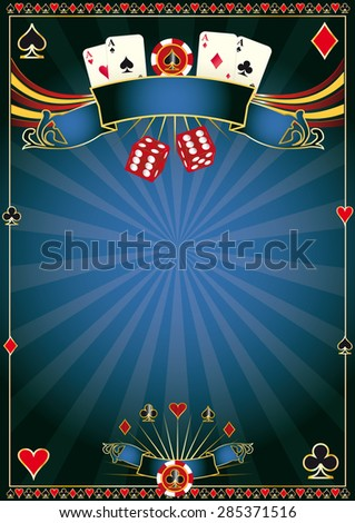 blue Casino. A poster for your poker tournament - stock vector