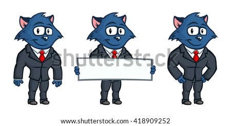 Blue cat mascot. Business but cute character. Lovely eyes and big ears. Set from several body postures and hand gestures. - stock vector