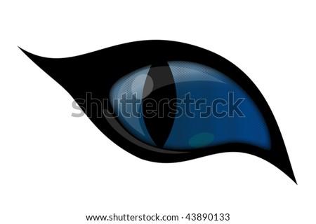 BLUE cat VECTOR eye  isolated over white background - stock vector