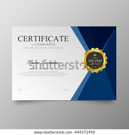 Blue certificate diploma background template vector modern value design and luxurious elegant. Illustration layout cover leaflet horizontal in A4 size pattern. - stock vector