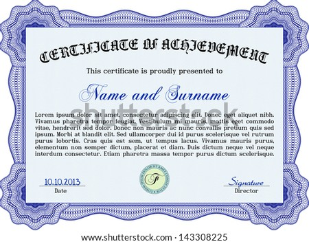 blue certificate template detailed border - Blue Certificate Border Template
