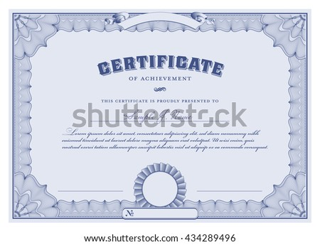 blue certificate template with guilloche borders and corners - stock vector