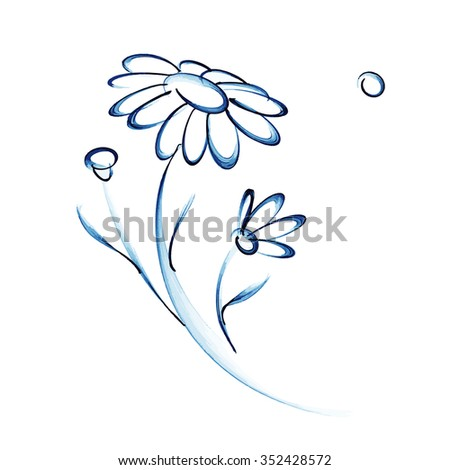 Blue chamomile on white background. Vector illustration. - stock vector