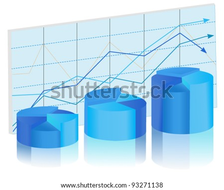 blue chart diagram. vector image - stock vector