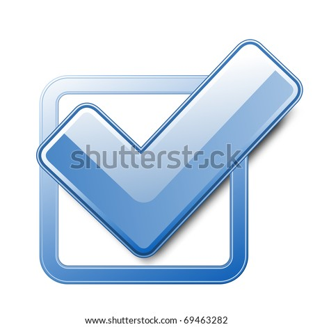 Blue check box with check mark - stock vector
