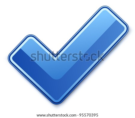 Blue check mark. Vector illustration - stock vector