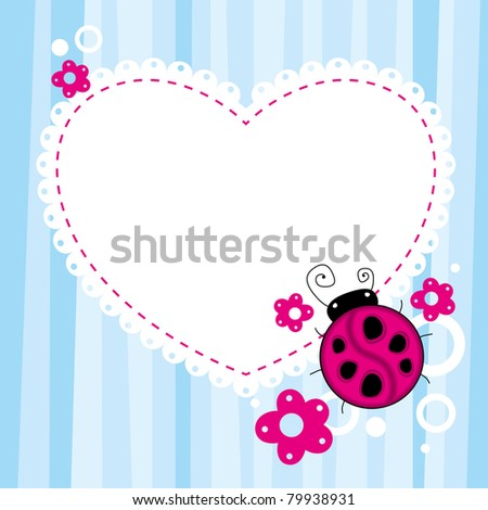 blue child background with a cartoon ladybird - stock vector