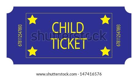Blue Child ticket. Vector - stock vector