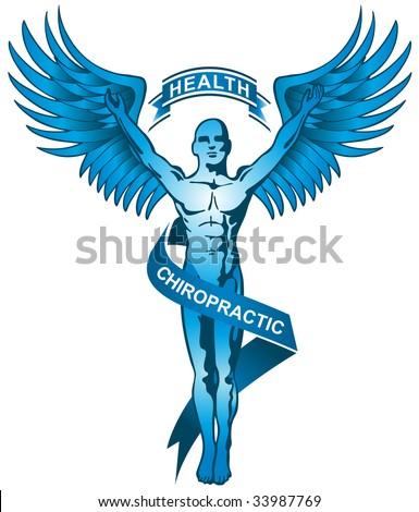 blue chiropractor symbol - stock vector