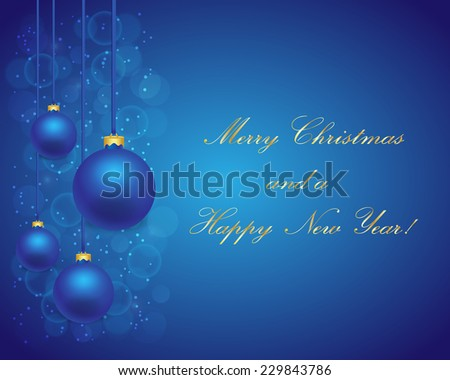 Blue Christmas background with balls - stock vector