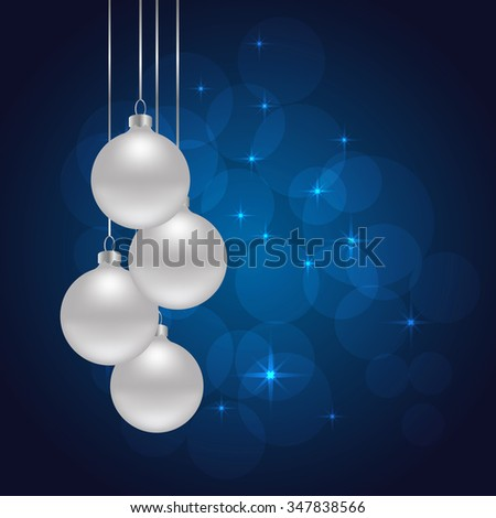 blue Christmas background with Christmas balls. vector illustration - stock vector