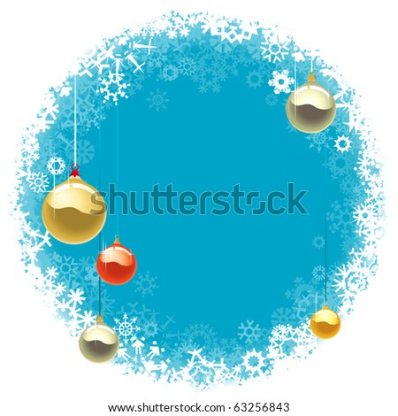 Blue Christmas Background with Colored Baubles (vector) - stock vector