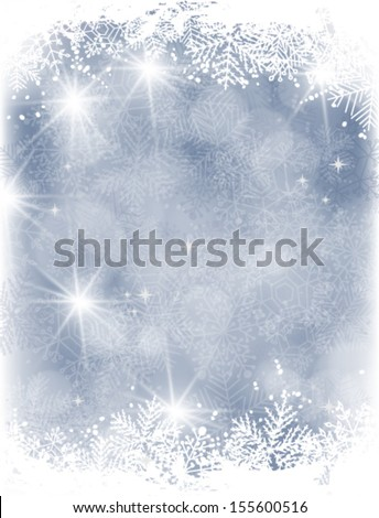 Blue Christmas background with falling snow and lights and grunge  frame of snowflakes - stock vector