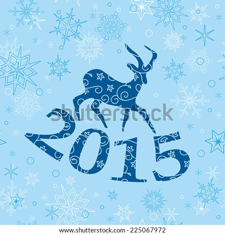 blue christmas background with goat - vector - stock vector