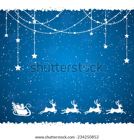 Blue Christmas background with Santa and snowflakes, illustration. - stock vector