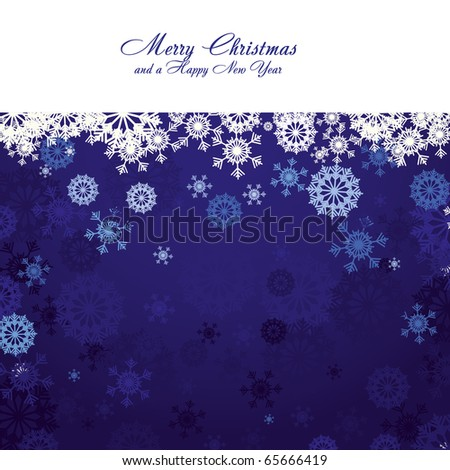 Blue christmas background with snowflakes and wish of Merry Christmas, vector illustration - stock vector