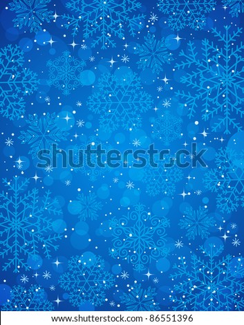 blue christmas background with snowflakes, vector illustration - stock vector