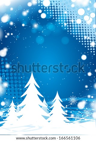 Blue Christmas Background with Trees