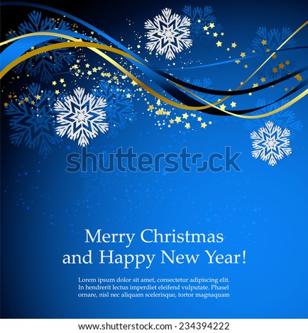 Blue Christmas background with waves and snowflakes - stock vector