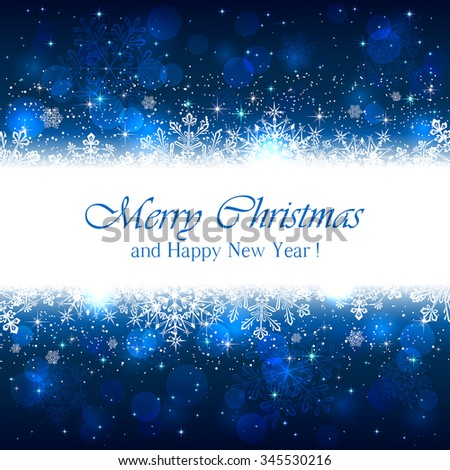 Blue Christmas background with white snowflakes and sparkling stars, illustration. - stock vector