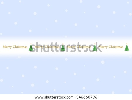 Blue Christmas background with white snowflakes with green Christmas tree with golden star and golden sign Merry Christmas in the middle - stock vector