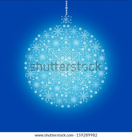 Blue christmas ball made from little snowflakes  - stock vector