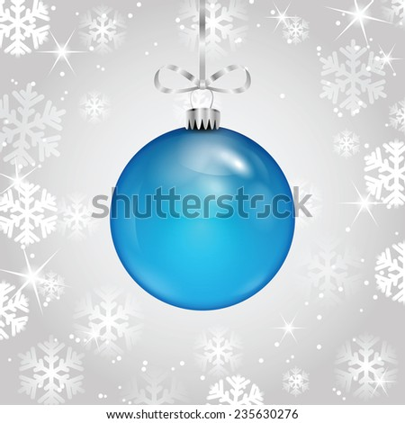 Blue Christmas ball on a silver ribbon on  background of falling snowflakes - stock vector