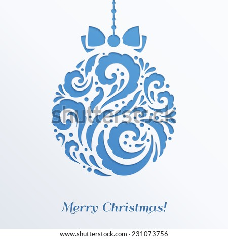 Blue Christmas ball with bow. Design elements for holiday cards.  Beautiful applique. Abstract design. Vector illustration. - stock vector