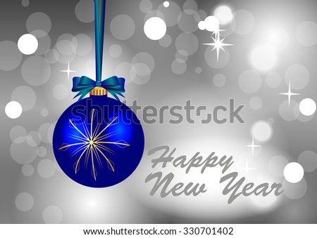 Blue Christmas ball with gold snowflakes on a gray background of brilliant - stock vector