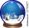 Blue christmas ball with snow - stock vector