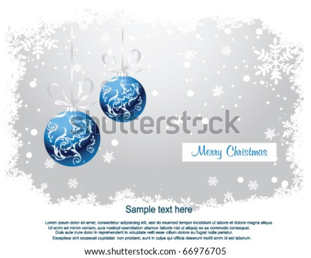Blue Christmas Balls on Christmas snowing background