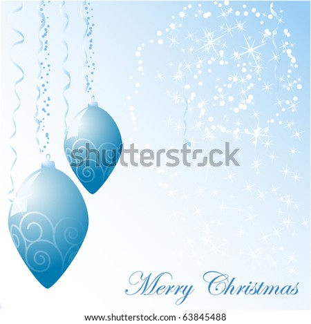 blue christmas balls vector background - stock vector