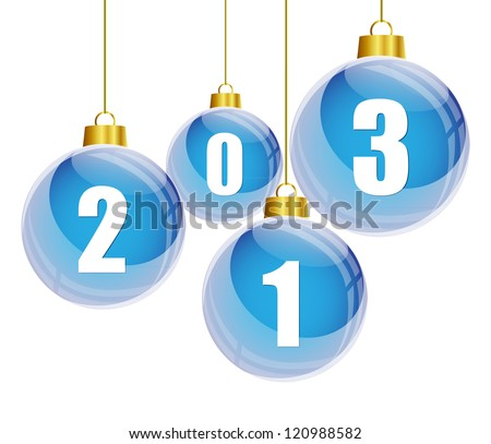 Blue christmas balls with the numbers of new year 2013 hanging - stock vector
