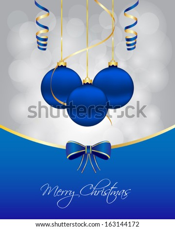 Blue christmas card - stock vector