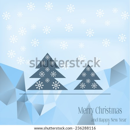 Blue Christmas card with blue trees and white flakes - stock vector