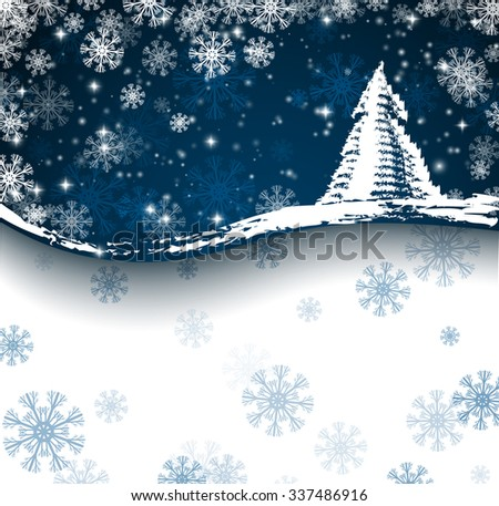 Blue christmas card with christmas tree and snowflakes - stock vector