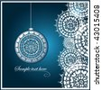 blue Christmas card with lace ornament - stock photo