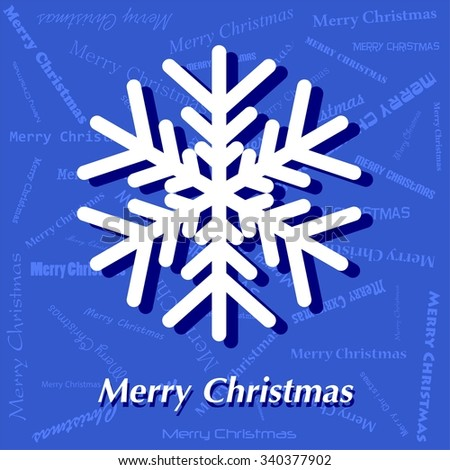 Blue Christmas card with white snowflakes and white Merry Christmas lettering with shadow on blue background with blue lettering Merry Christmas - stock vector
