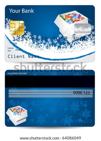 Blue christmas credit card design - stock vector