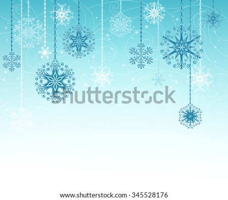 Blue christmas design with decorative snowflakes. Holiday  background with place for your text. It can be used for decorating of invitations, greeting cards. Vector Illustration - stock vector