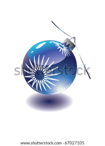 Blue christmas eve toy with ribbon. - stock vector