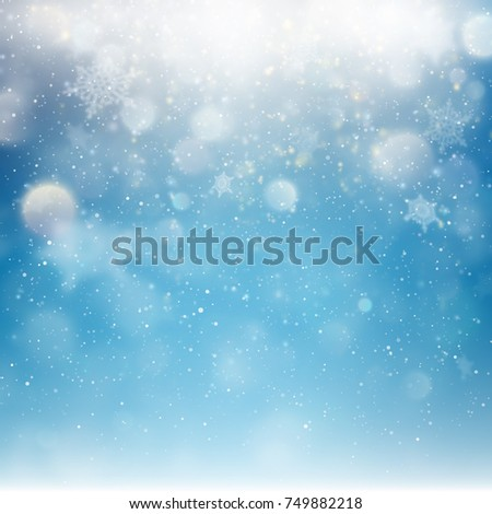 blue christmas falling snow template flying stock vector 749882218