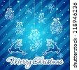 Blue Christmas Greeting Card - stock vector