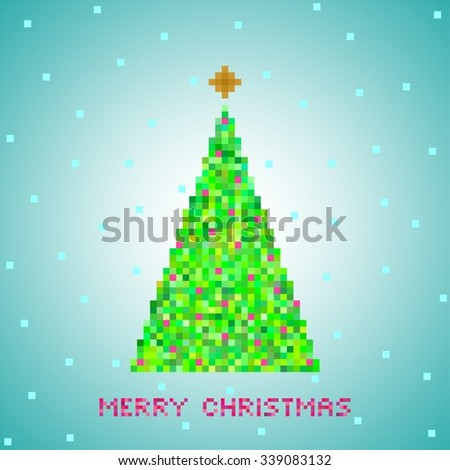 Blue Christmas greeting from green Christmas tree of green pixels, small green squares with red squares with gold star and snow on a blue square and red lettering Merry Christmas - stock vector