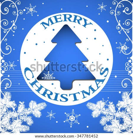 blue christmas greeting with blue christmas tree white fir branches and small snowflakes christmas - Small Blue Christmas Tree