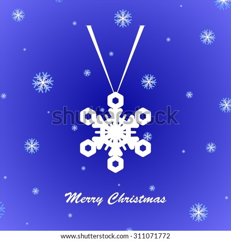 Blue Christmas greeting with suspended white snowflakes and snow fall - stock vector