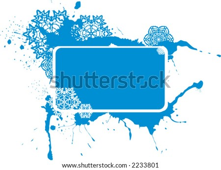 blue christmas grunge  background with snowflakes - vector